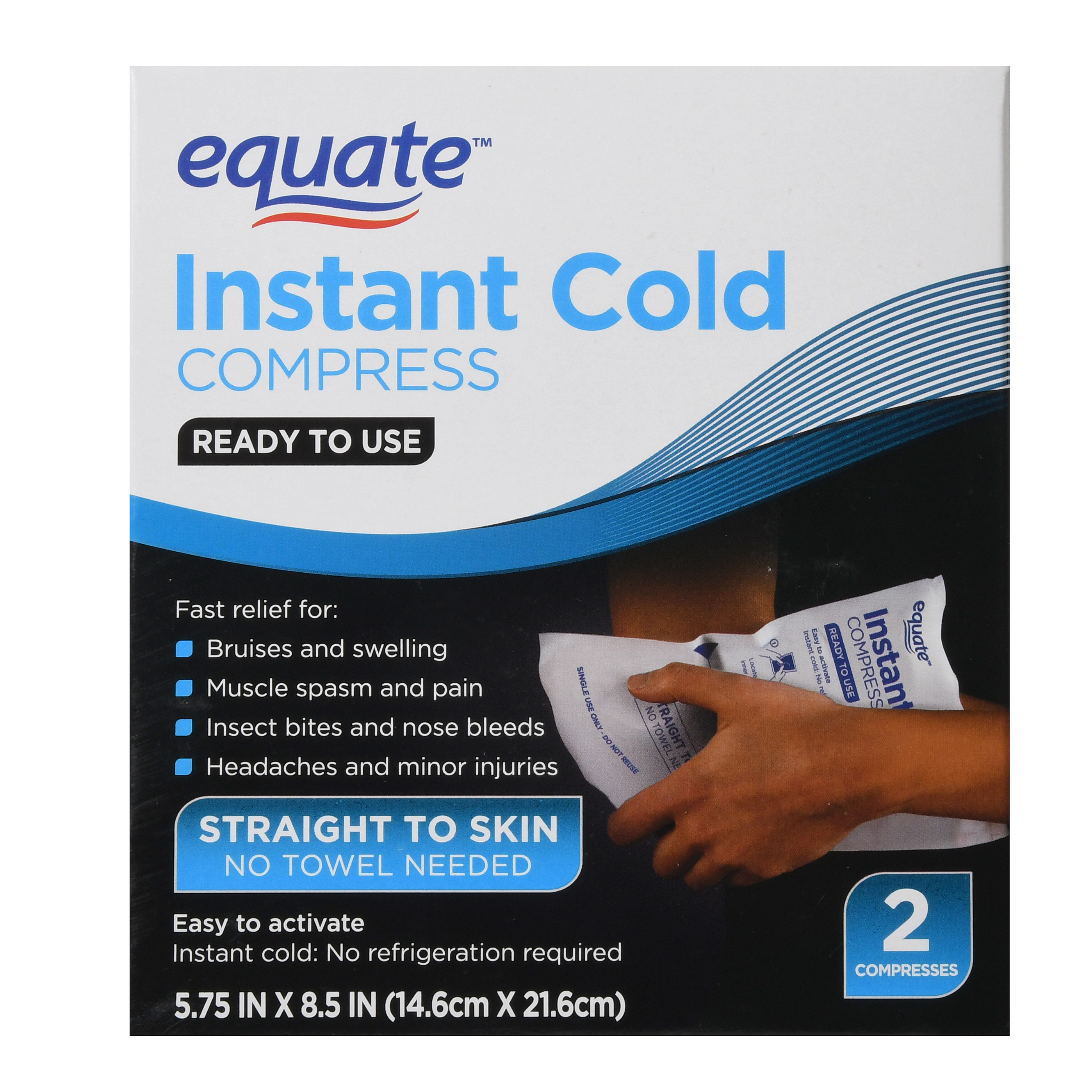 Equate Instant Cold Compress, 5.75 inches X 8.5 inches, 2 Ct