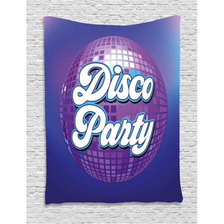 70s Party Decorations Tapestry, Retro Lettering on Disco Ball Night Club Theme Dance and Music, Wall Hanging for Bedroom Living Room Dorm Decor, 40W X 60L Inches, Purple Blue White, by Ambesonne