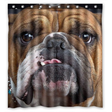 GCKG Bulldog Bathroom Shower Curtain, Shower Rings Included 100% Polyester Waterproof Shower Curtain 66x72 Inches