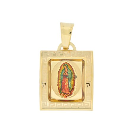 14k Yellow Gold, Virgin Mary Religious Pendant Colorful Enamel Square Medal 15mm NO Necklace Gold Medal Necklace