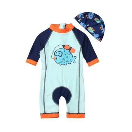 Toddler Baby Boy Girl Cartoon Puffer Fish Piece Rash Guard Surfing Bathing - Cartoon Baby One Piece