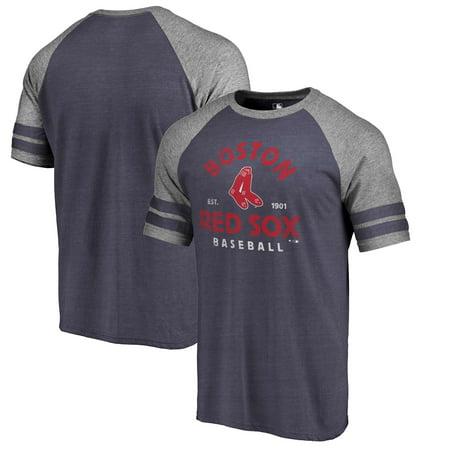 Boston Red Sox Fanatics Branded Vintage Arch Tri-Blend Two Stripe Raglan T-Shirt - Navy ()