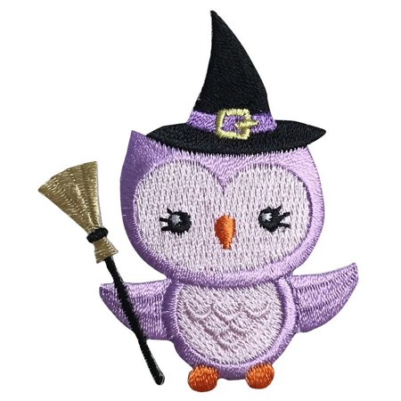 Halloween Owl - Witch's Hat/Broom - Purple - Iron On Embroidered Applique Patch - Iron On Halloween Appliques