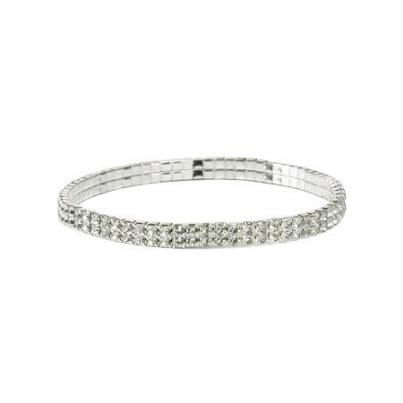 Clear Crystal Rhinestone Stretch Circle Foot Bangle Anklets, 2 Rows ()