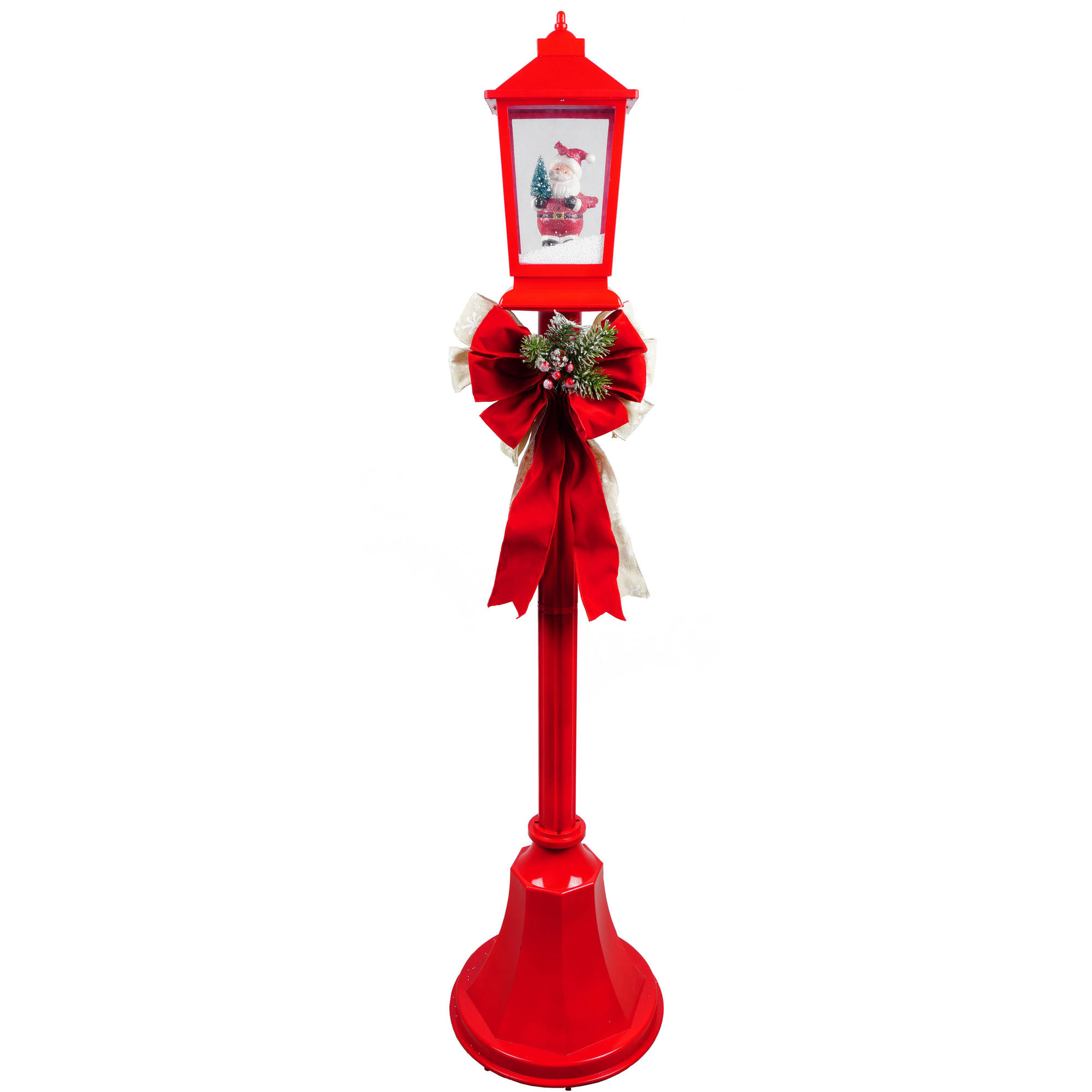 Holiday Time Christmas Lamp Posts With Snow Blowing Scenes Clear Light, Playing Christmas Songs