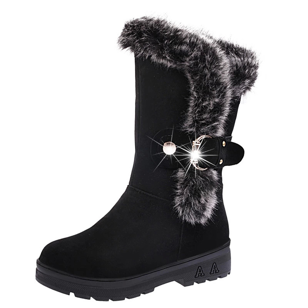 DZT1968 Women Boots Slip-On Soft Snow Boots Round Toe Flat Winter Fur Ankle Boots