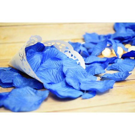 Bulls Silk - Quasimoon Dark Blue Silk Rose Petals Confetti for Weddings in Bulk by PaperLanternStore