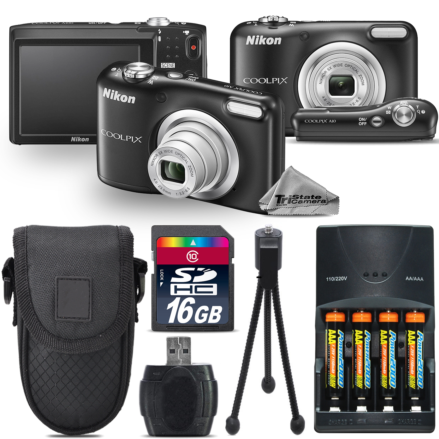 Nikon Coolpix A10 16.1MP Digital Camera Black 5x Optical ...