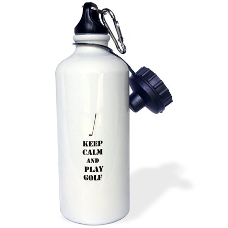 3dRose Keep Calm and Play Golf sports theme, Sports Water Bottle, 21oz