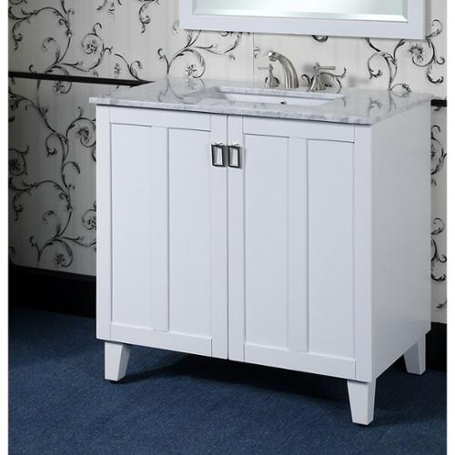 Infurniture Carrara 36-inch White Marble Top Single Sink Bathroom Vanity in White Finish