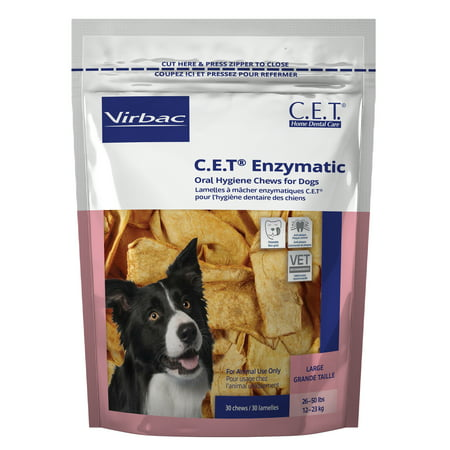 - Virbac C.E.T. Enzymatic Oral Hygiene Chews for Large Dogs, 30 Chews