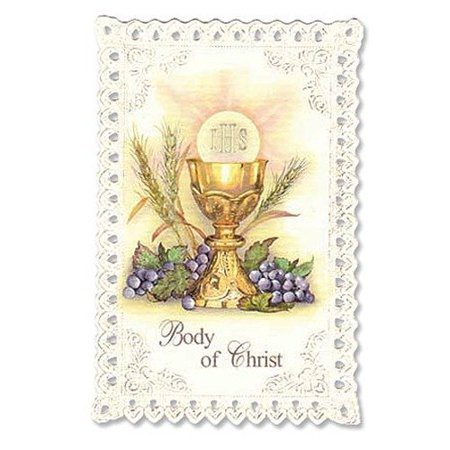 Lourdes Holy Card (Chalice and Grapes First Communion Lace Holy Card, 100% Satisfaction Guaranteed ! By Christian Brands )