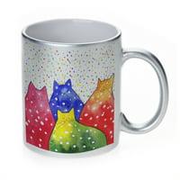 KuzmarK Silver Sparkle Coffee Cup Mug 11 Ounce - Fiesta Polka-Dot Kitties Abstract Cat Art by Denise Every