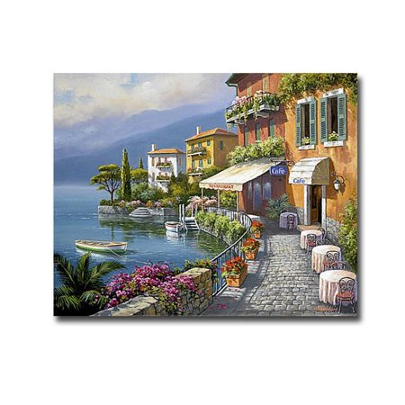 Seaside Bistro Cafe by Sung Kim Premium Gallery-Wrapped Canvas Giclee Art - Ready-to-Hang, 16 x 20 - Seaside Cafe