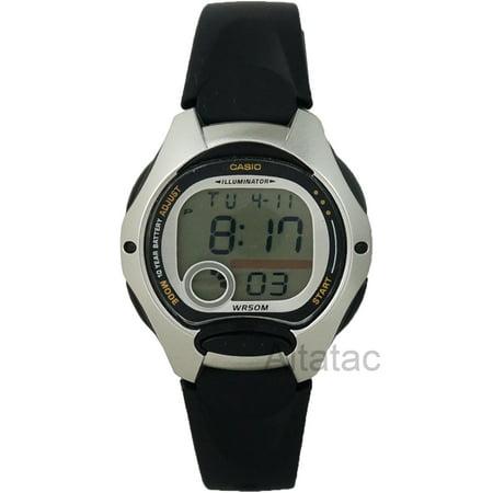 Casio casio women 39 s digital sport watch black resin strap for Black resin ladies watch