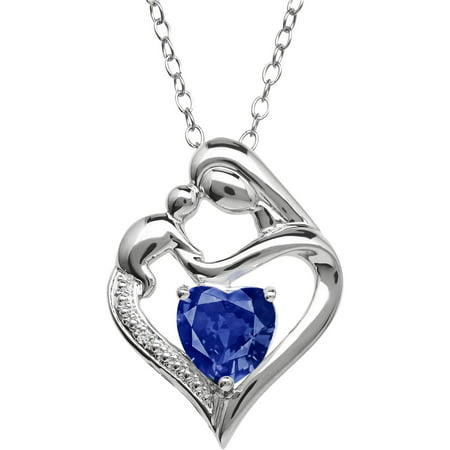 Mother and Child Created Sapphire and Diamond Accent Pendant in Sterling Silver, 18