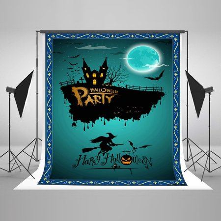 HelloDecor Polyster 5x7ft Halloween Poster Backdrops Photography Dark Castle Bats and Witch Photo Studio Backgrounds for Children