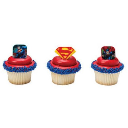 12 Superman Shield Cupcake Cake Rings Birthday Party Favors - Superman Party Favors