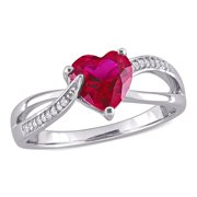 1-5/8 Carat T.G.W. Created Ruby and Diamond-Accent Sterling Silver Crossover Heart Ring