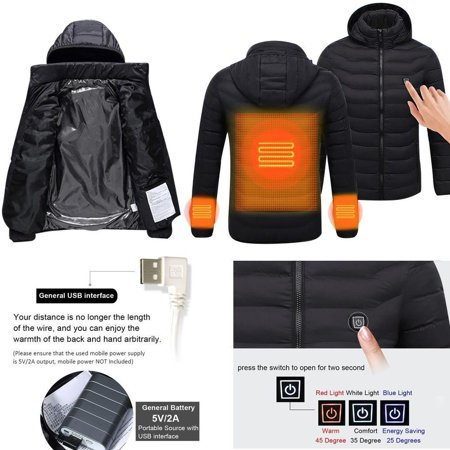 USB Heater Hunting Vest Heated Jacket Heating Winter Clothes Men Thermal Outdoor-Black XXXL size