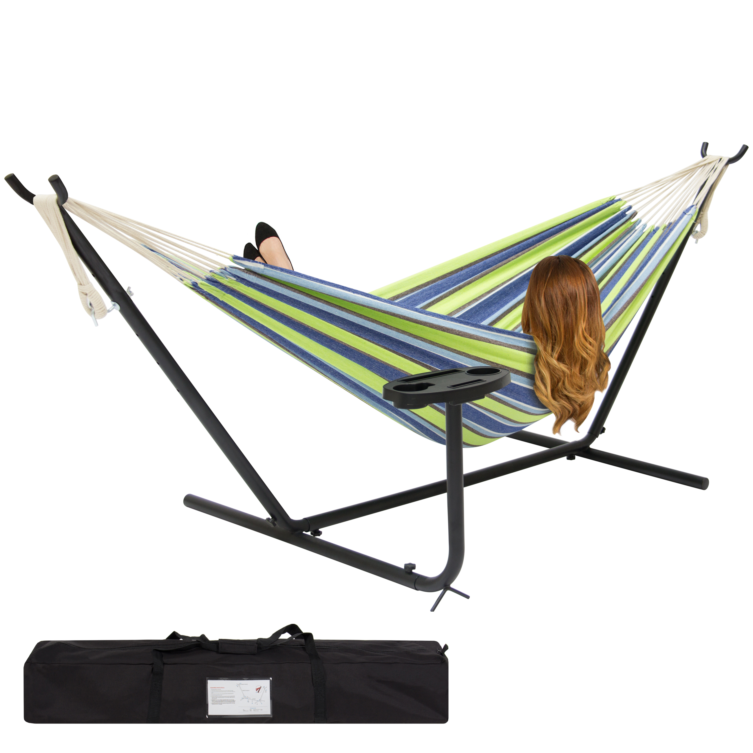 Best Choice Products Outdoor Double Hammock Set w/ Steel Stand, Cup Holder, Tray, and Carrying Bag - Blue/Green Stripe