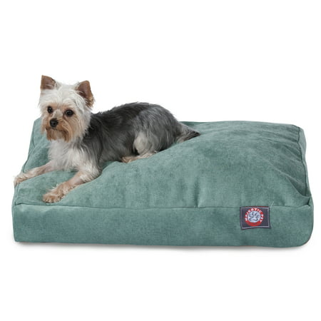Majestic Pet Villa Rectangle Dog Bed Velvet Removable Cover Azure Small 27u0022 x 20u0022 x 4u0022