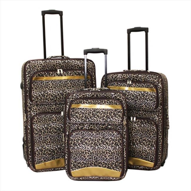 Argo Sport 86LZ11-3E Leopard Print Expandable Upright Luggage Set - 3 Piece