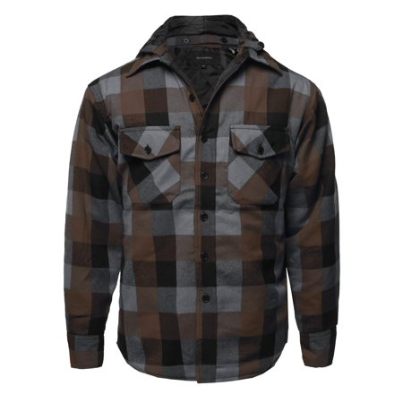 FashionOutfit Men's Casual Detachable Hoodie Plaid Flannel quilted Button Jacket (Quilted Flannel Jacket)