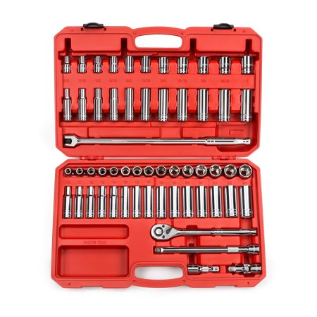 TEKTON 1/2 Inch Drive 6-Point Socket Set, 58-Piece (3/8-1 in., 10-24 mm) | 13201