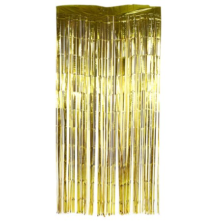Anauto 200cm Curtain Birthday Wedding Party Photo Backdrop Reusable Metallic Tinsel Foil Fringe Curtain Doorway Room Hanging Decoration Gold