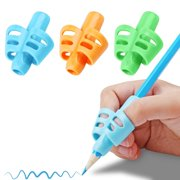 Pencil Grips, DMFLY Pencil Grips for Kids Handwriting, Children Pen Writing Aid Grip Set Posture Correction Tool for Kids Preschoolers Children, Hollow Ventilation Design, 3 Pack Blue oran