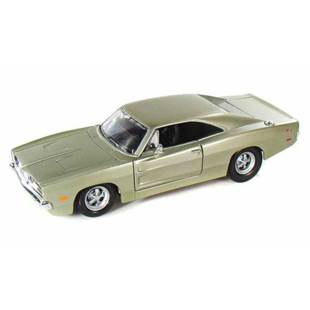 1969 Dodge Charger R/T, Champagne Silver - 31256 - 1/24 Scale Diecast Model Toy Car, 1/24 scale diecast collectible model car. 8Lx 2.75Wx 2H. By