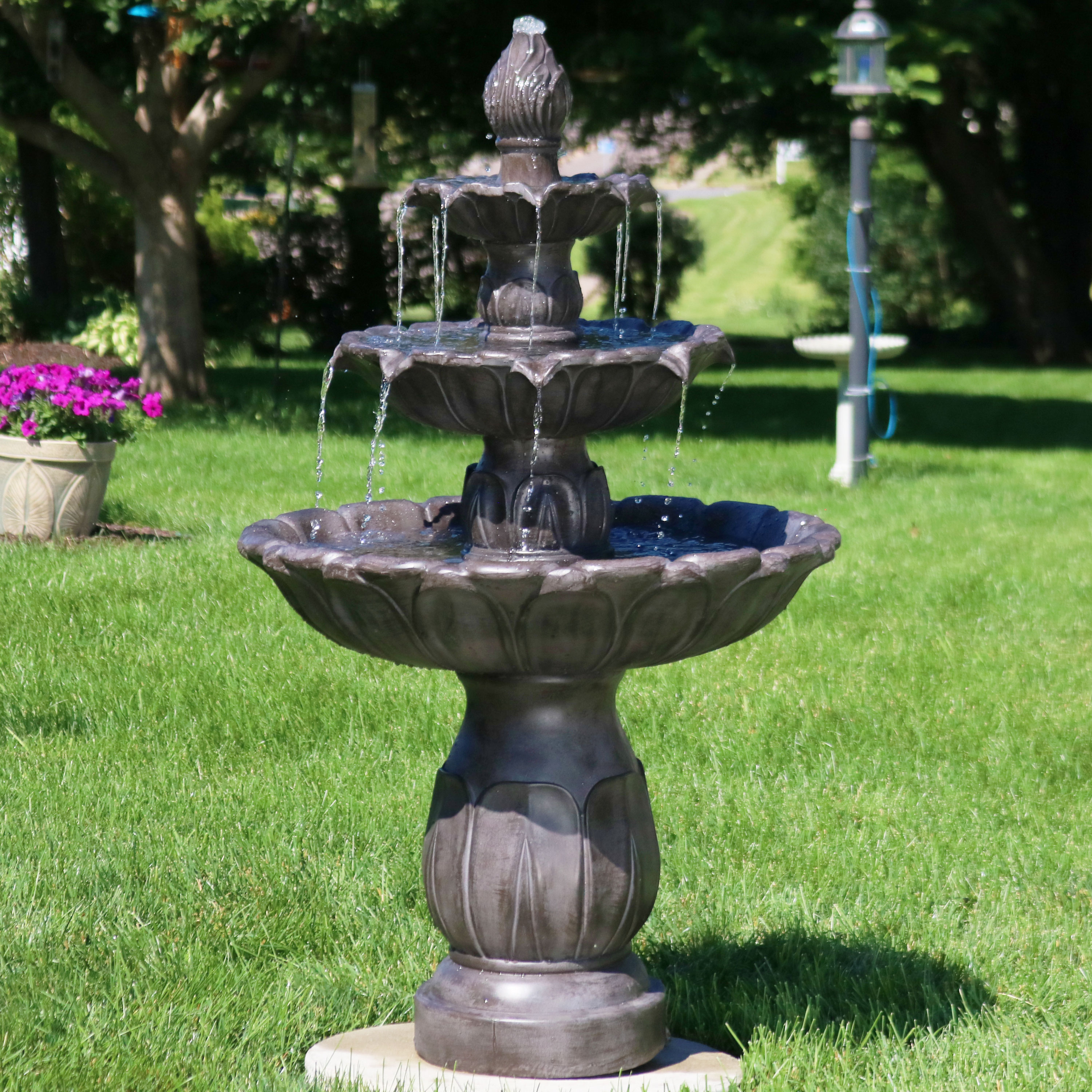 Sunnydaze Classic Tulip Three-Tiered Outdoor Garden Water Fountain, Dark Brown, 46 Inch Tall by Sunnydaze Decor