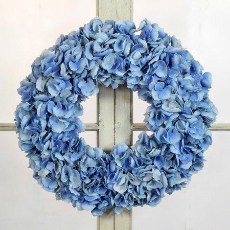 - Jane Seymour Light Blue Dried Hydrangea 24 in. Wreath