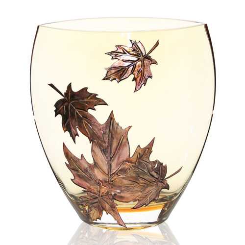 Womar Glass Hand Painted Glass Autumn Leaves Series II Vase