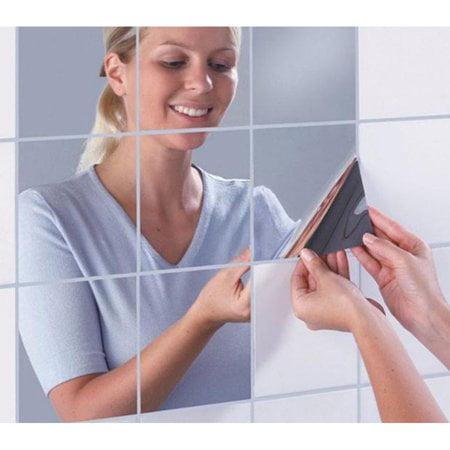 Knifun 9pcs/16pcs Square Flexible Mirror Sheets Mirror Wall Stickers Self Adhesive Plastic Mirror Tiles for Home Decor](Mirrored Tile)