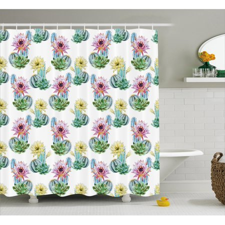Cactus Decor Shower Curtain Hot Desert South Mexican Vintage Plant Flowers With Spikes