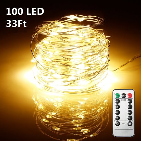 100 LEDs String Lights with Remote Control for Christmas Party Wedding Home Outdoor Decor, AA Battery Powered on 33ft Long Copper Wire with Battery