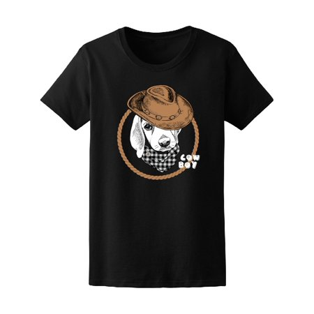 Puppy Beagle In Brown Cowboy Hat Tee Womens  Image By Shutterstock