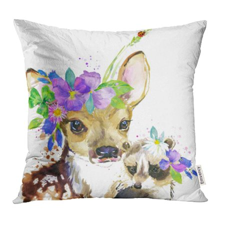 Black Forest Deer - YWOTA Artistic Cute Fawn Raccoon Deer Watercolor Forest Animal Baby Beautiful Black Drawn Pillow Cases Cushion Cover 20x20 inch