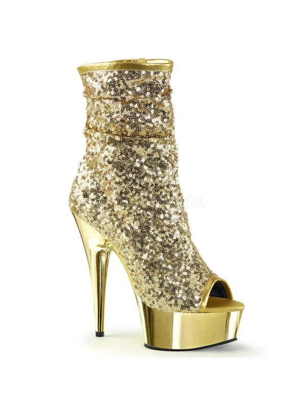 Gold Sequins/Gold Chrome Pleaser Platforms Ankle/Mid-Calf Boots Size: 10
