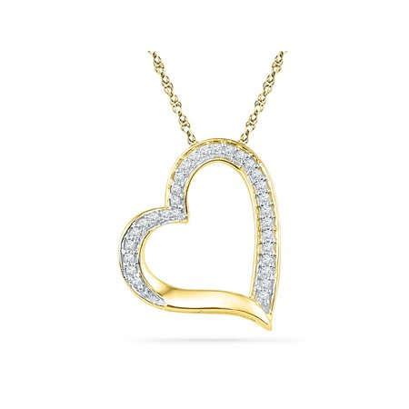 10kt Yellow Gold Womens Round Diamond Heart Outline Pendant 1/8 Cttw - image 1 of 1