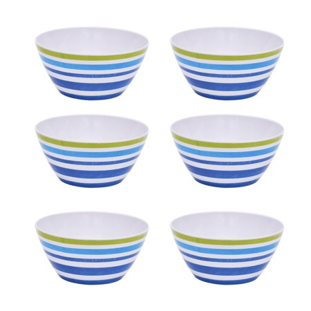 Mainstays Kids Melamine Blue Striped Bowls, Set of 6