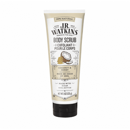 J.R. Watkins Sugar and Shea Body Scrub, Coconut Milk & Honey, 8 Oz (Honey Almond Sugar Scrub)