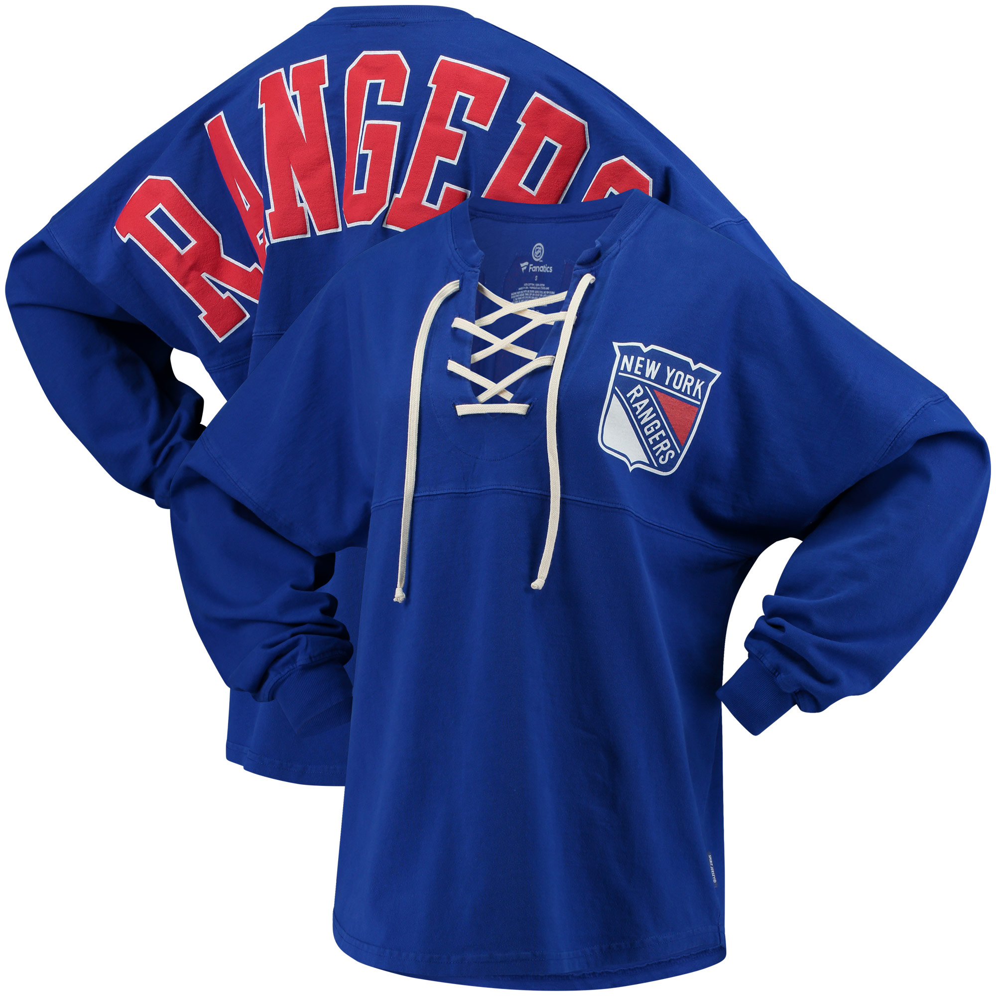New York Rangers Fanatics Branded Women's Lace Up Long Sleeve Spirit T-Shirt Blue by BoxSeat Clothing - SOURCED