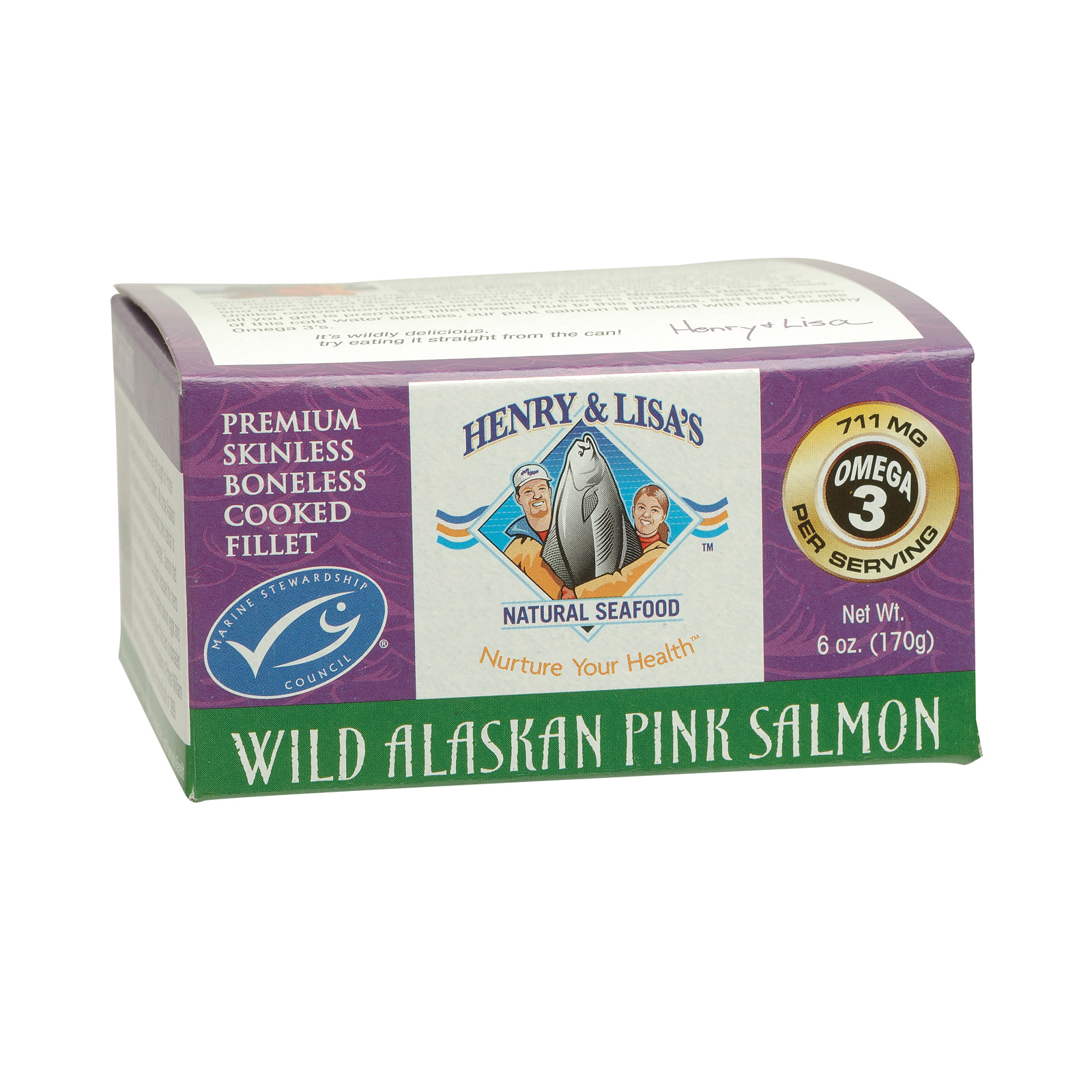 Henry and Lisa's Natural Seafood Wild Alaskan Pink Salmon Case of 12 6 oz. by