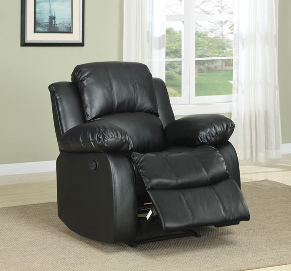 Homelegance Cranley Power Recliner Chair In Black Bonded Leather Match