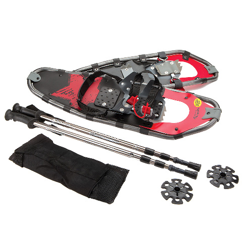 Lightweight Aluminum-Alloy Large Adult Snowshoes and Poles by