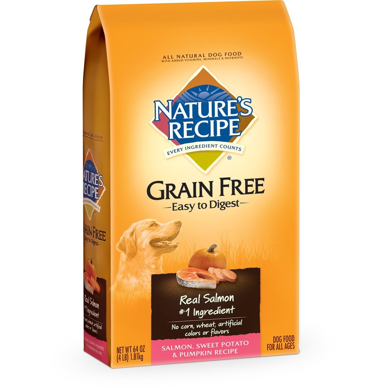 Nature's Recipe Grain Free Salmon Dry Dog Food, 4 Lb