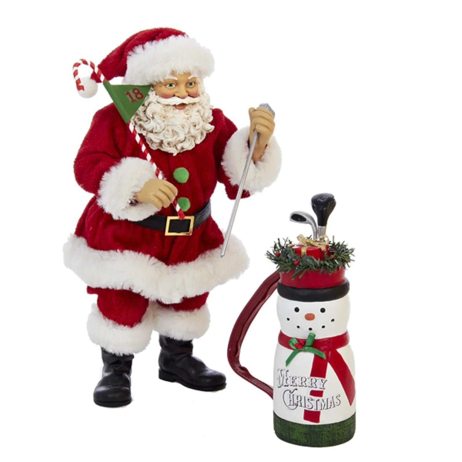 "10"" Fabriche Golf Santa with Snowman Bag Christmas Table Top Decoration"